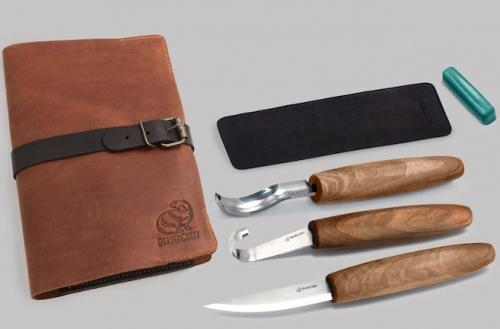 Beavercraft - Spoon Carving Set with Gouge - in Genuine Leather Roll