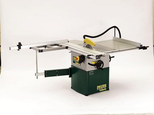 Record - Puusepän 250mm pöytäsaha - Valurautainen - Liukupöydällä, pöydän tukivarrella ja tarkkuuskatkaisuvasteella - TS250RS-PK/A
