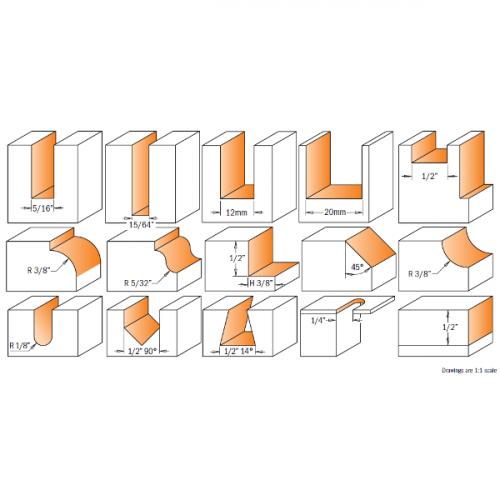 Jyrsinteräsarja 15-osainen HW S=6,35