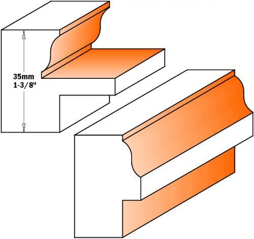 Ikkunaoven jyrsinterä sarja HW S=12,7 D=38-35