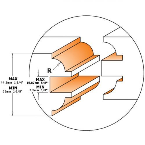 Sisäovien jyrsinterä sarja S=12,7 D=48X44,5
